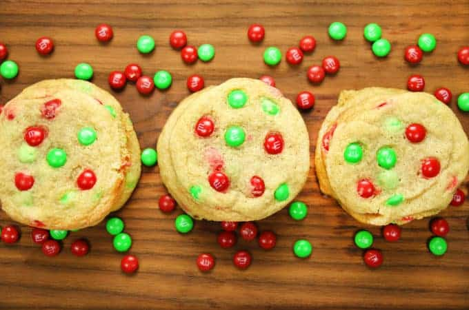 easy christmas cookies with m&m's
