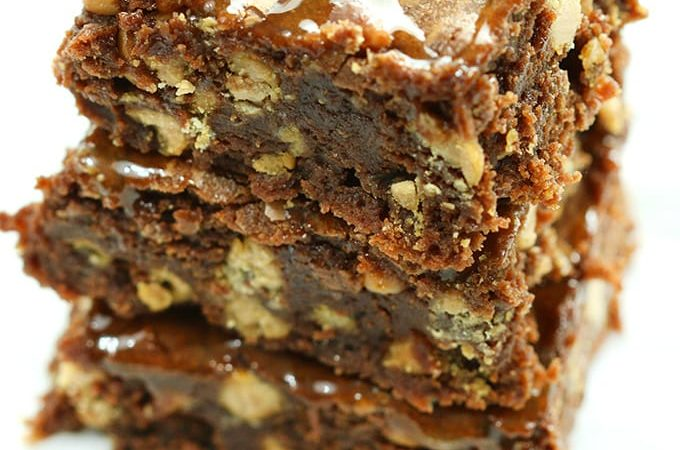 fudgy brownies with sea salt caramel chips